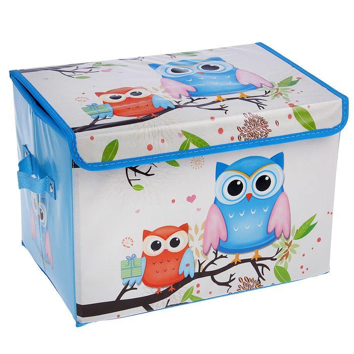 """Короб для хранения 40×26×26 см """"Летние совушки"""", цвет голубой"""