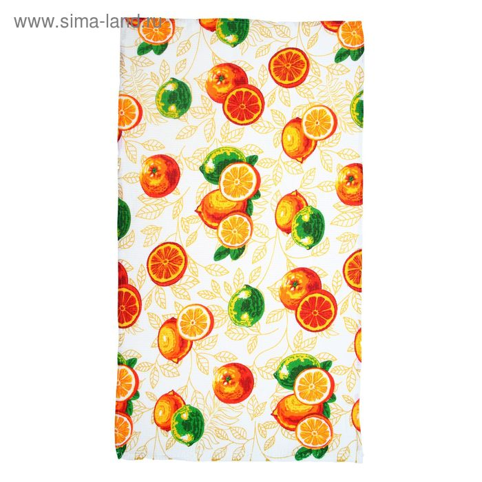 """Полотенце вафельное набивное """"Апельсины"""" 40х70 см 160 гр/м хлопок"""