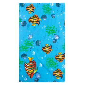 Полотенце вафельное набивное' Рыбки', 40х70 см, голубой. 160 гр/м, 100% хлопок Ош