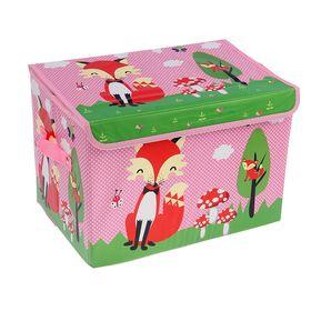 """Короб для хранения 40×26×26 см """"Лиса на поляне"""", цвет розовый"""