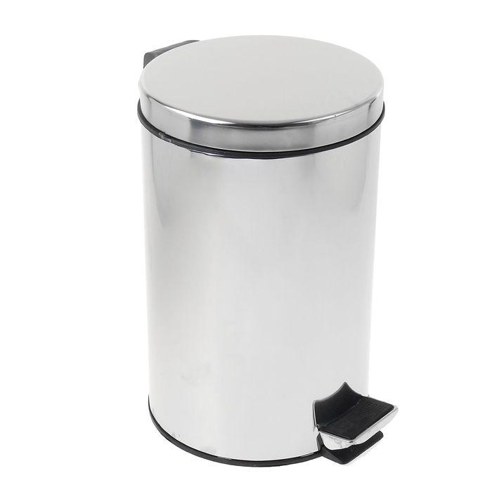УЦЕНКА Ведро мусорное с педалью, 20 л, нержавеющая сталь - фото 1663863