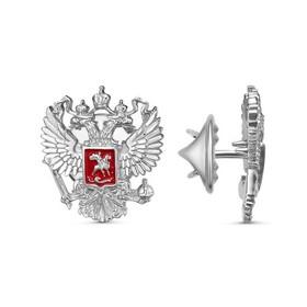 Значок 'Герб РФ' с красной эмалью посеребрение с оксидированием Ош