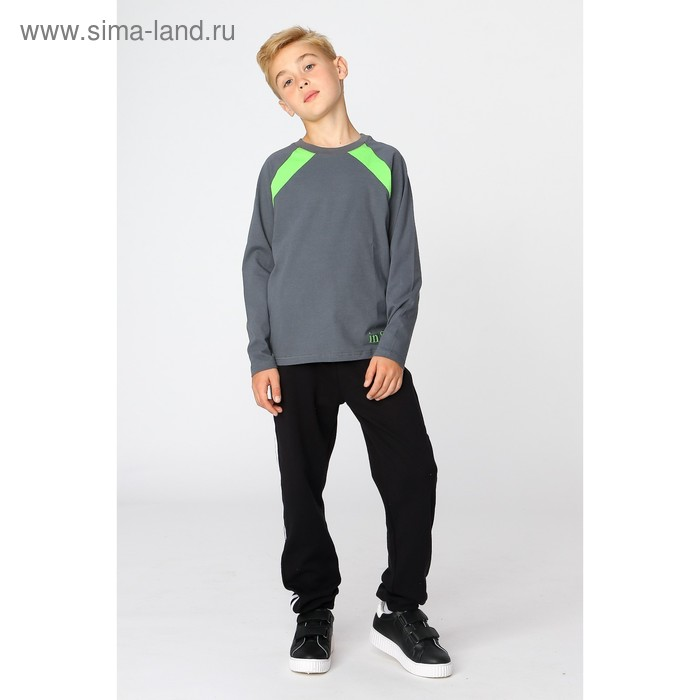 Джемпер для мальчика, рост 110-116 см (60), цвет тёмно-серый/зелёное яблоко (арт. Д 08245/1-П_Д)