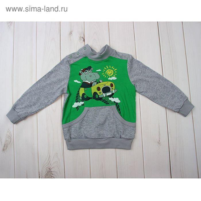 Джемпер для мальчика, рост 62-68 см (44), цвет серый/зелёное яблоко (арт. Д 08316-П_М)