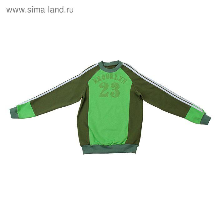 Джемпер для мальчика, рост 122-128 см (64), цвет хаки/зелёное яблоко (арт. Д 08317-П_Д)