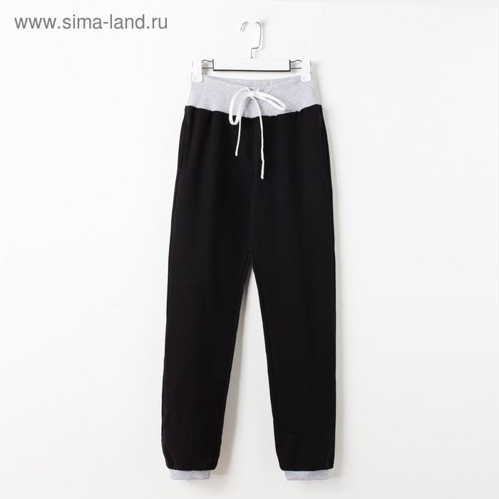 Брюки для девочки, рост 122-128 см (64), цвет чёрный/серый меланж (арт. Д 07210-В_Д)