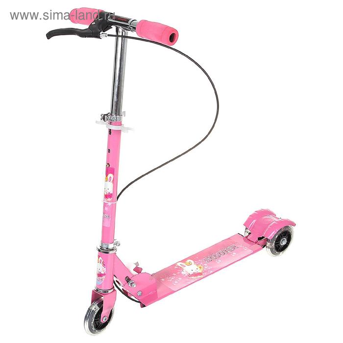 Самокат стальной с ручным тормозом,три светящихся колеса PVC d= 100 мм цвет розовый в пакете