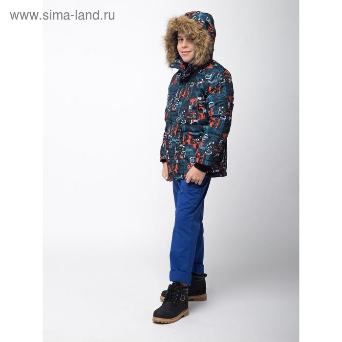 Куртка для мальчика, рост 134 см, принт, цвет серый (арт. М12-34_Д)