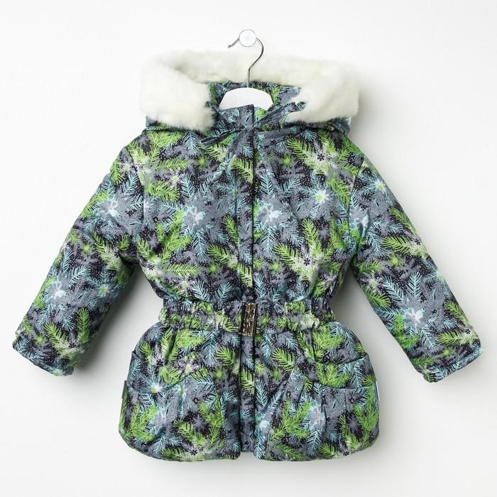 Куртка для девочки, рост 104 см, принт, цвет серый (арт. Д017-33_Д)