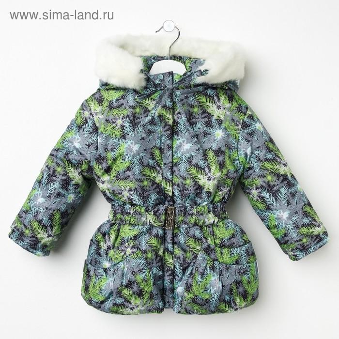 Куртка для девочки, рост 122 см, принт, цвет серый (арт. Д017-36_Д)