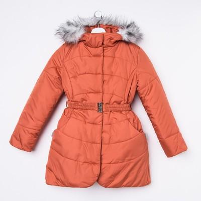 Пальто для девочки, рост 128 см, цвет терракот (арт. Д20-27_Д)