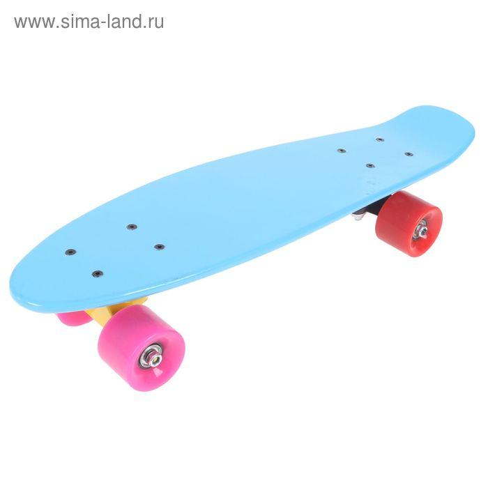 Скейтборд S811, размер 57x16 см,колеса разноцветные PU d= 57*45 мм,ABEC 7,алюмин.рама УЦЕНКА