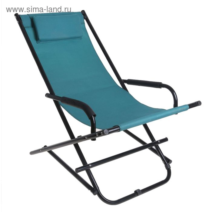 Кресло турист., с подголовником 115х55х77 см, цвет: зеленый, до 80 кг УЦЕНКА