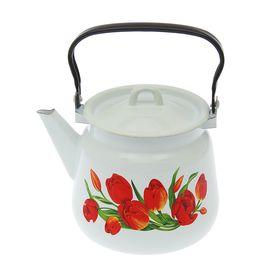 Чайник сферический «Тюльпаны», 3,5 л, цвет белый