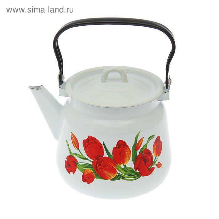 """Чайник 3,5 л сферический """"Тюльпаны"""", цвет белый"""