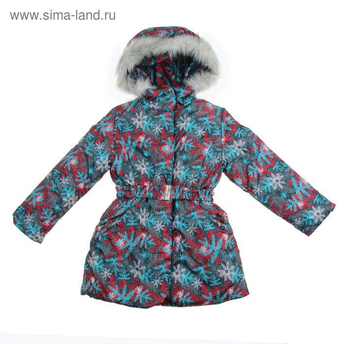Пальто для девочки, рост 134 см, принт, цвет бирюзовый (арт. Д20-58_Д)