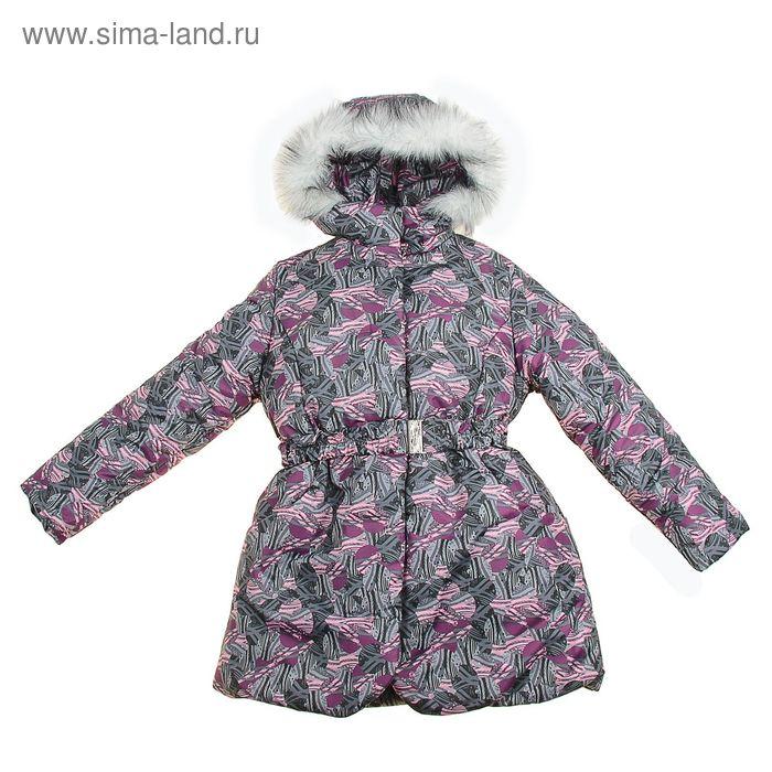 Пальто для девочки, рост 128 см, принт, цвет розовый (арт. Д20-67_Д)