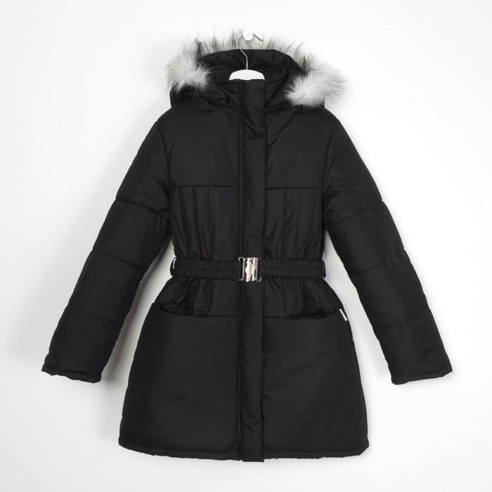 Пальто для девочки, рост 122 см, цвет чёрный (арт. Д21- 8_Д)