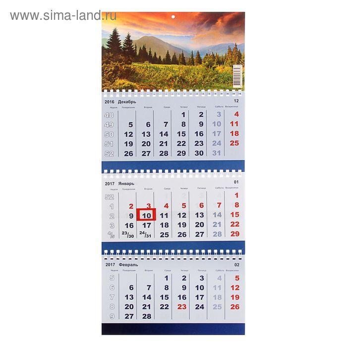 """Календарь Трио квартальный """"Природа"""" 20х47 см"""