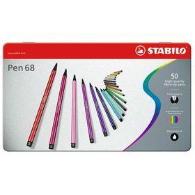 Фломастеры профессиональные 50 цветов Stabilo 6850-6 металлический футляр