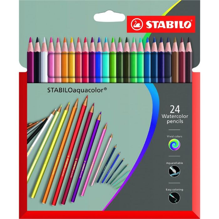 Карандаши художественные цветные акварельные Stabilo Aquacolor 24 цвета, в картонной коробке