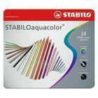 Карандаши художественные цветные акварельные Stabilo Aquacolor 24 цвета, в металлическом пенале