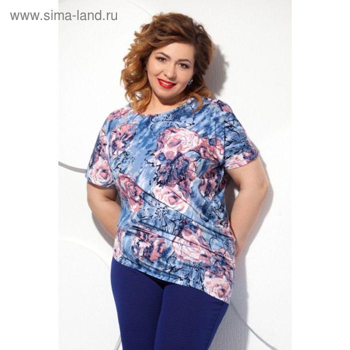 Блуза женская, размер 58, цвет синий+розовый Б-129/4