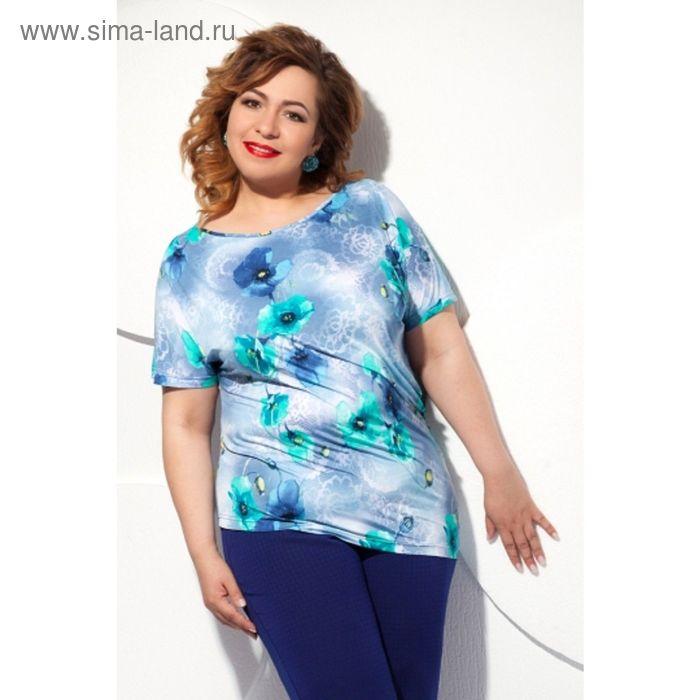 Блуза женская, размер 62, цвет голубой+бирюза Б-129/6