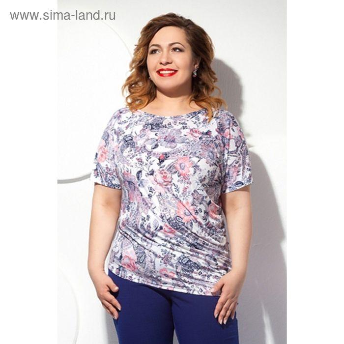 Блуза женская, размер 56, цвет белый+розовый Б-129/7