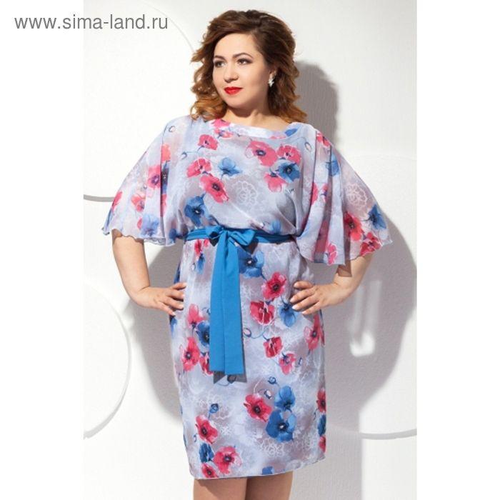 Платье женское, размер 60, цвет цветочный принт П-427/1