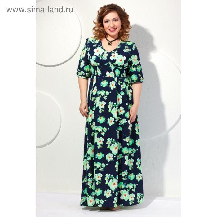 Платье женское, размер 52, цвет тёмно-синий + салатовый П-421/1