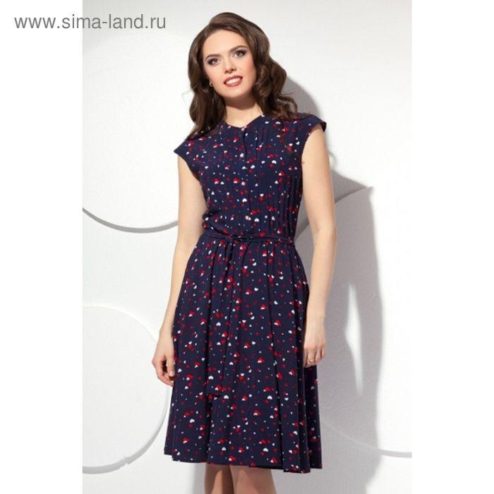 Платье женское, размер 56, цвет тёмно-синий П-423