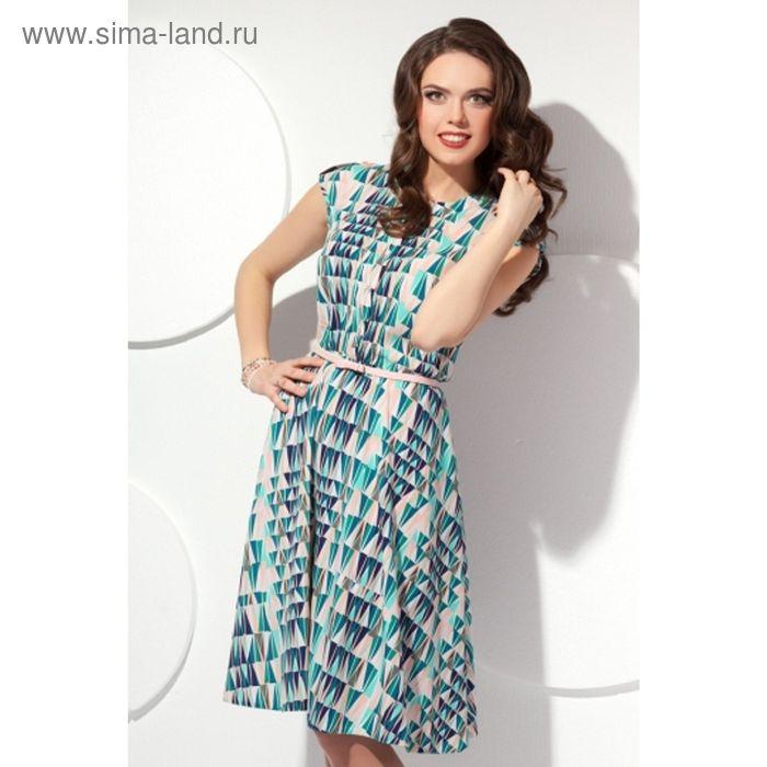 Платье женское, размер 54, цвет бирюза+беж П-423/2