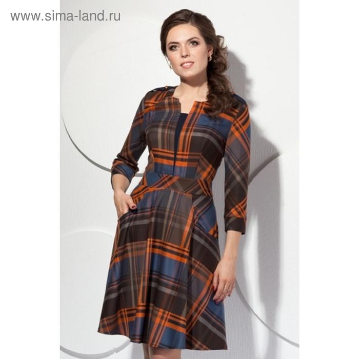 Платье женское, размер 48, клетка П-397