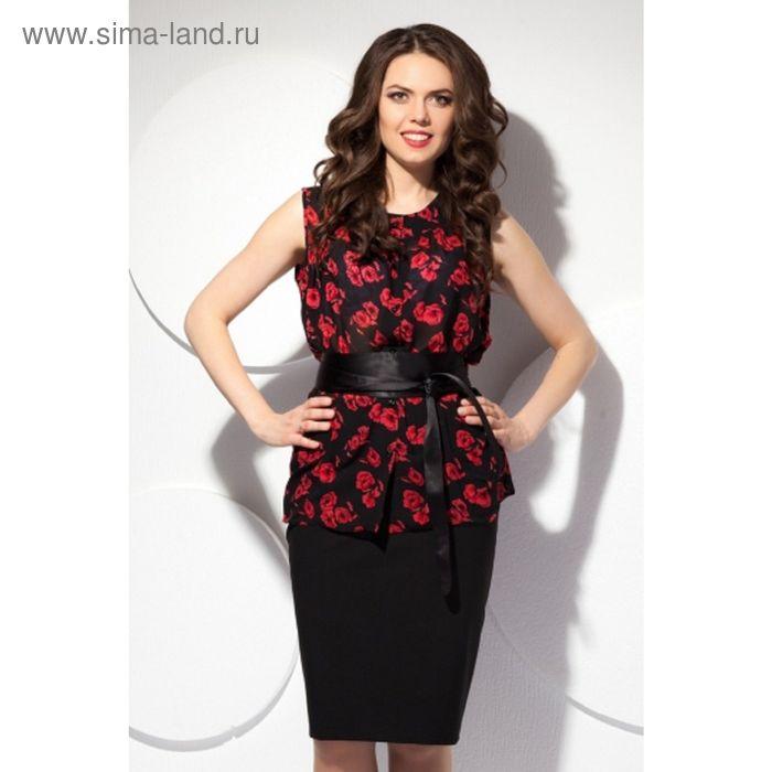 Блуза женская, размер 52, цвет чёрный+красный Б-127