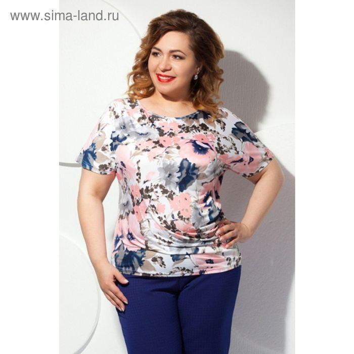Блуза женская, размер 60, цвет розовый+серый Б-129/1