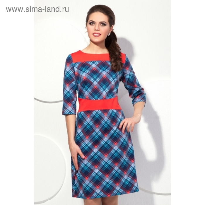 Платье женское, размер 54, цвет голубой+красный П-410/1
