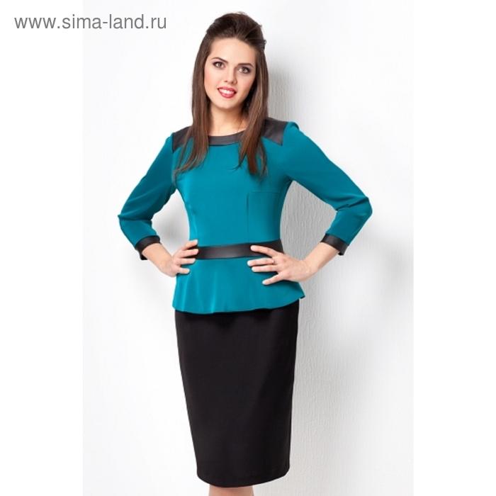 Платье женское, размер 48, цвет морская волна + черный П-400/1