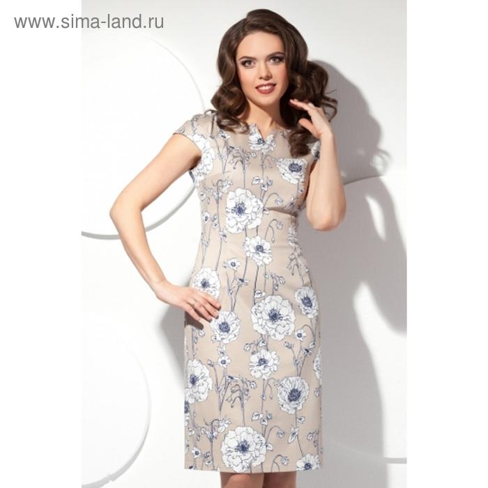 Платье женское, размер 46, цвет бежевый П-406/1