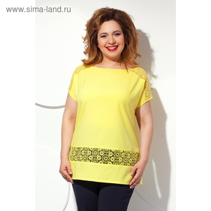 Блуза с короткими рукавами, размер 62, цвет жёлтый Б-151/2