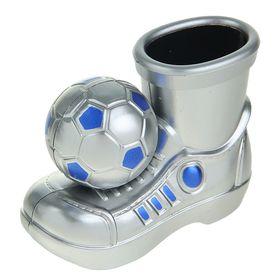 Подставка для пишущих принадлежностей, «Ботинок с мячом», серебряный