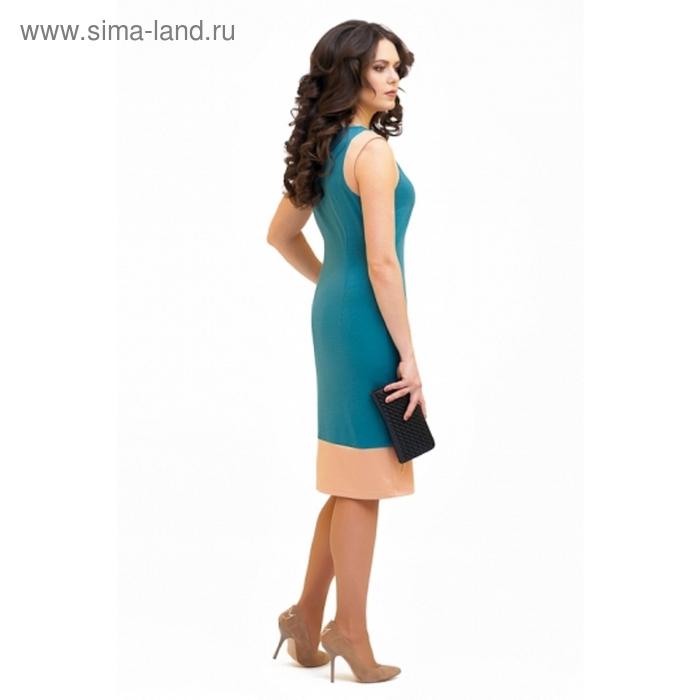 Платье женское, размер 46, цвет бирюза+бежевый П-354/1