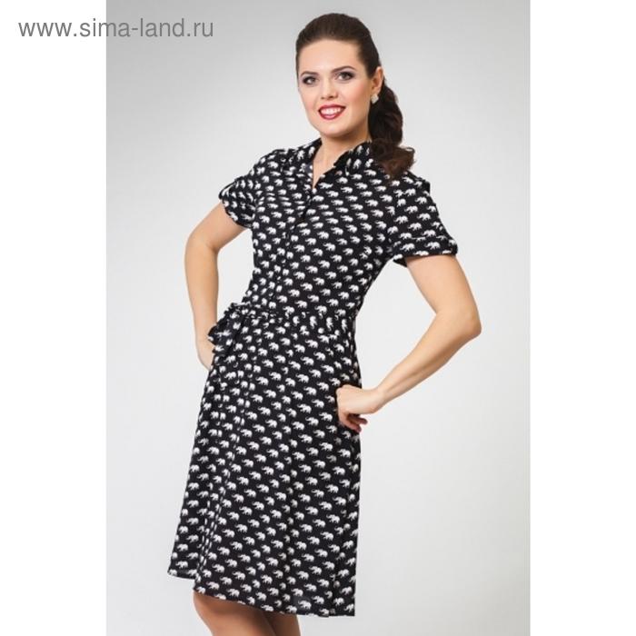 Платье женское, размер 48, цвет чёрный+белый П-362/4