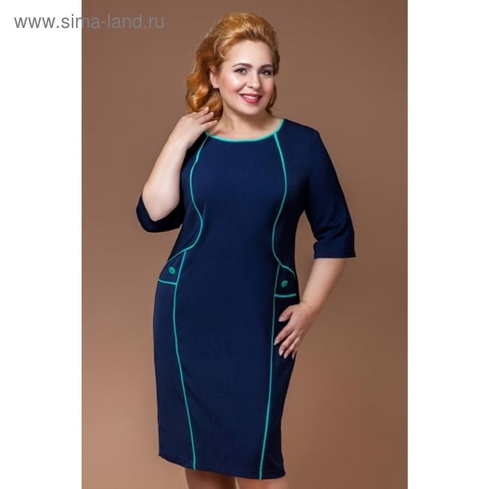 Платье женское, размер 50, цвет тёмно-синий+мята П-374/1