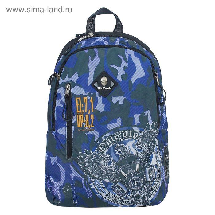 Рюкзак молодёжный на молнии, 2 отдела, наружный карман, синий с рисунком
