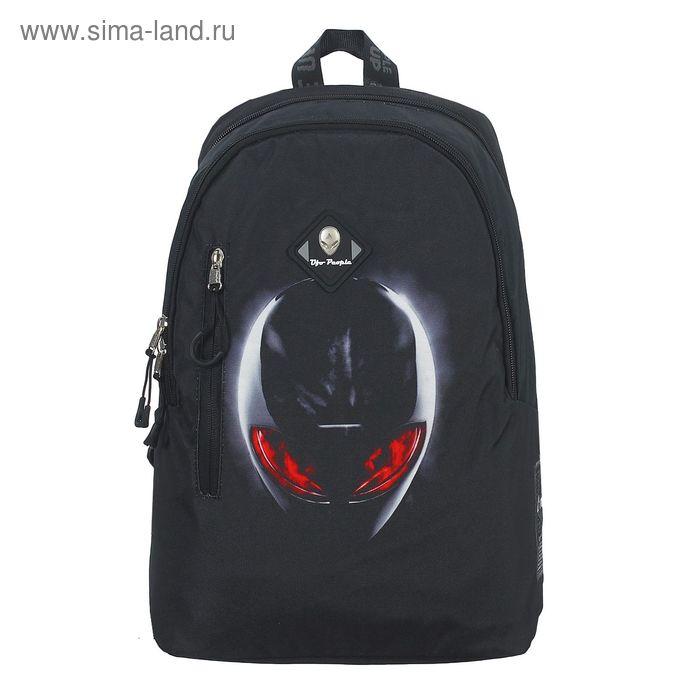 Рюкзак молодёжный на молнии, 2 отдела, наружный карман, чёрный с рисунком