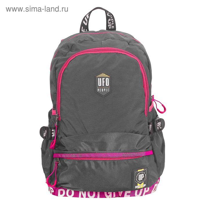 Рюкзак школьный на молнии, 2 отдела, наружный карман, серый/сиреневый
