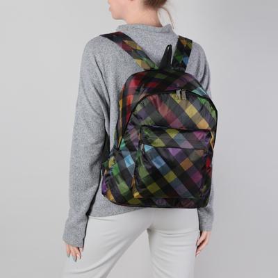 Рюкзак молодёжный на молнии, 1 отдел, наружный карман, клетка