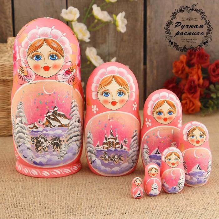 Матрёшка «Зима», розовый платок, 7 кукольная, 18 см, люкс