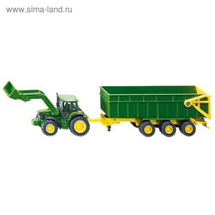 """Трактор Джон Дир с ковшом и прицепом-кузовом, зеленый """"Siku"""""""